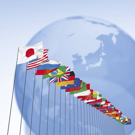international flags: Flags of all nations and the globe Stock Photo