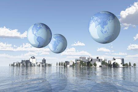 Earth and future city Standard-Bild