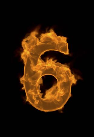 flame letters: Number of flame 6 Stock Photo