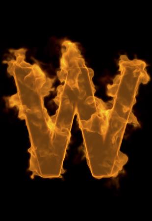 flame alphabet: Alphabet W of flame