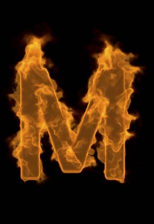 firepower: Alphabet M of flame Stock Photo