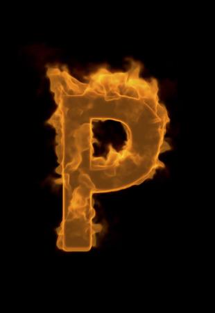 flame alphabet: Alphabet P of flame