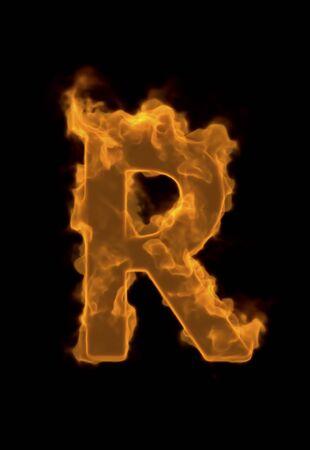 r image: Alphabet R of flame