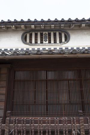 lattice window: Mushiko windows and lattice of old houses Stock Photo