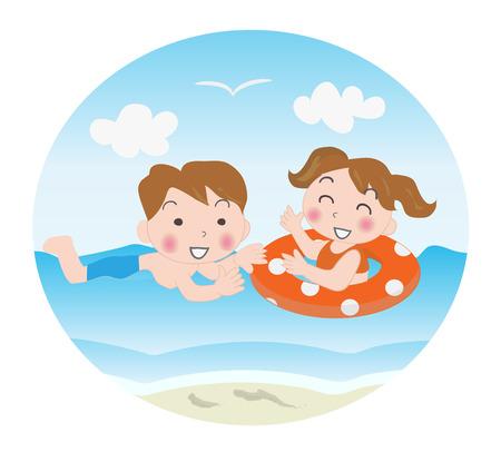 fine weather: Children swim