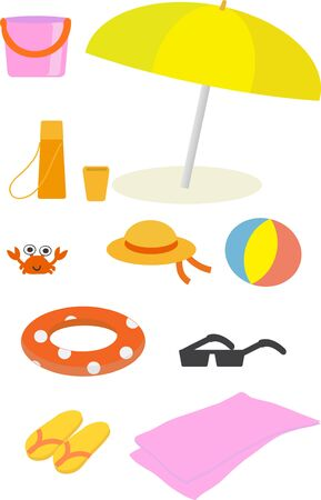 miscellaneous goods: Miscellaneous goods set of sea Stock Photo