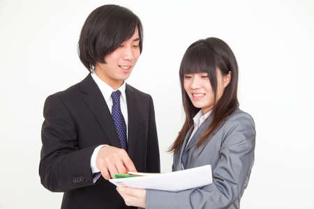 new recruit: Men and women meeting Stock Photo