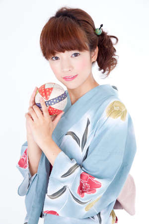 get dressed: Woman yukata Stock Photo