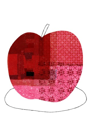 provisions: Red collage of apples Stock Photo