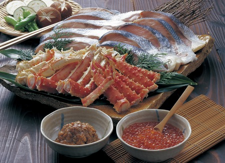 king salmon: Seafood platter Stock Photo