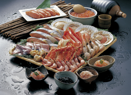 king salmon: Hama grilled and North Sea delicacies Stock Photo