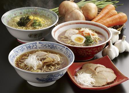 Ramen salt, miso, soy sauce Stock Photo