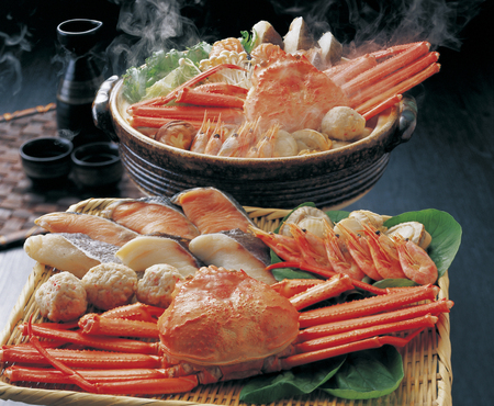 crab pot: Red snow crab seafood pot Stock Photo
