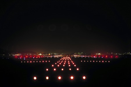 night view: Night runway Stock Photo
