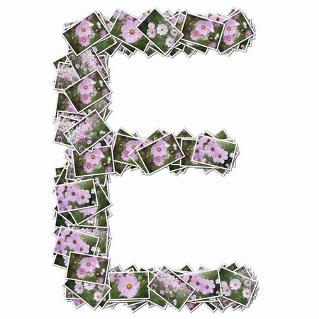 synthesis: Uppercase letters with pictures of flowers