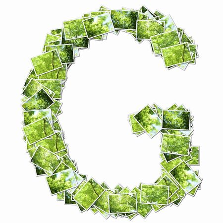 synthesis: Uppercase letters with pictures of fresh green Stock Photo