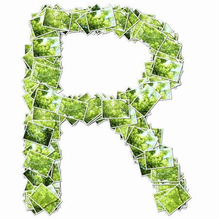 r image: Uppercase letters with pictures of fresh green Stock Photo