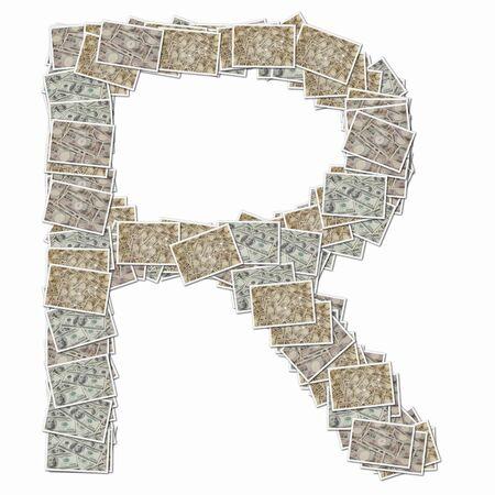 r image: 10000 Yen bills and 100 dollars in bills of the alphabet uppercase