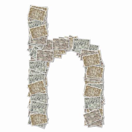 bills: 10000 Yen bills and 100 dollars in bills lowercase alphabet