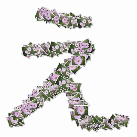 huh: Photos of flowers in hiragana Stock Photo