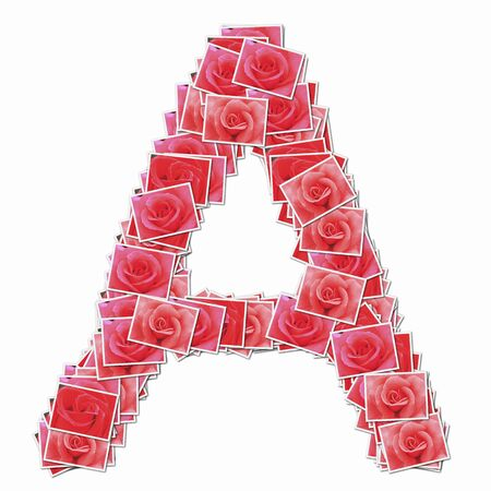 composite material: Alphabet capitals with rose flowers Stock Photo