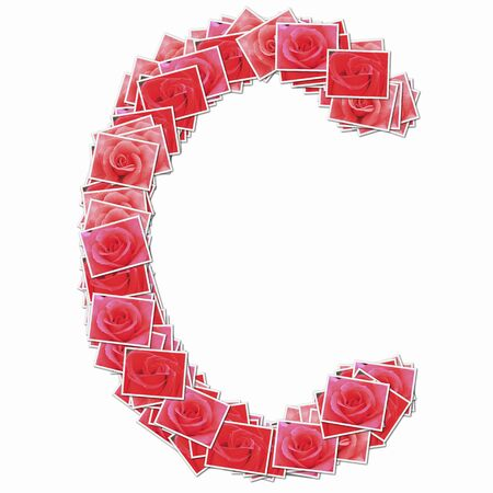 rose: Alphabet capitals with rose flowers Stock Photo