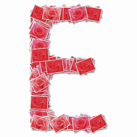 synthesis: Alphabet capitals with rose flowers Stock Photo