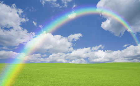 grandeur: Green meadows and clouds and the Rainbow