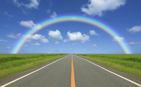 straight path: The wheat field and clouds and the Rainbow