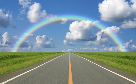 straight road: Straight road and clouds and a rainbow of grassland
