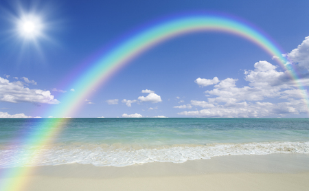 natural phenomena: Beach waves and clouds and Sun and Rainbow