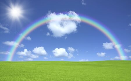 green meadows: Green meadows and clouds and the Rainbow