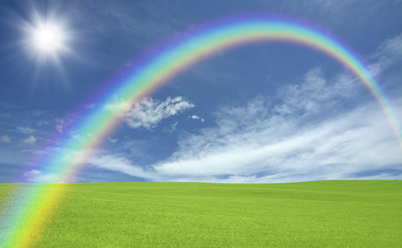 green meadows: Green meadows and clouds and Rainbow and the Sun