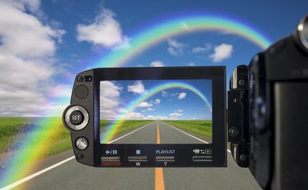 straight path: Camcorder Stock Photo