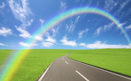 straight path: Meadow road clouds and rainbows