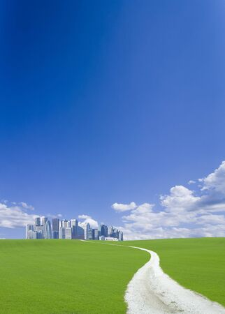 grassland: Road to high rise skyscrapers across the Hill