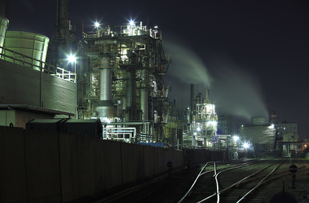 in the zone: Evening industrial zone industrial complex Stock Photo
