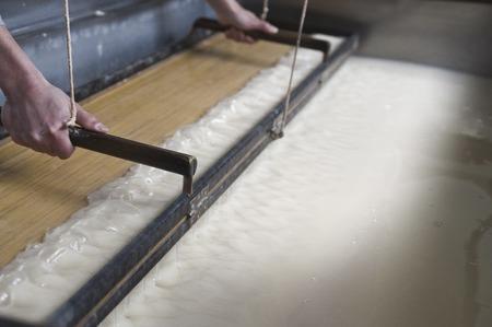 handmade paper: Making handmade paper Stock Photo
