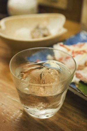 familiar: Shochu of rock glass Stock Photo