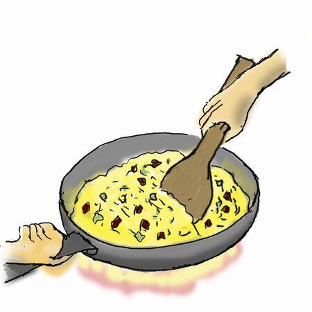 fried rice: Fry -3 rice to make fried rice