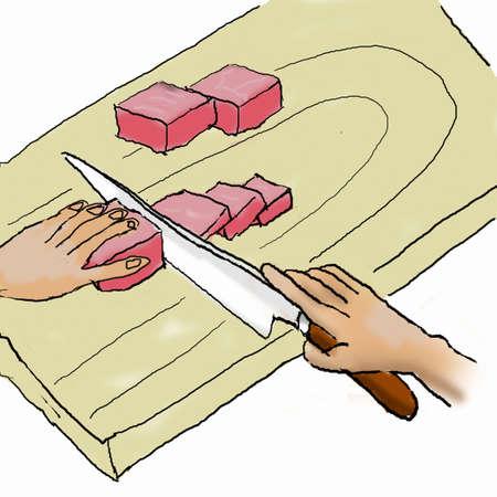 korea food: Carve the meat to make Bowser