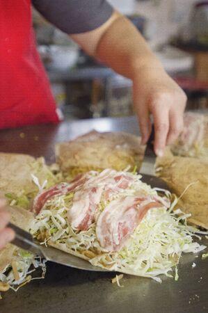 hiroshima: Hiroshima style Okonomiyaki Stock Photo
