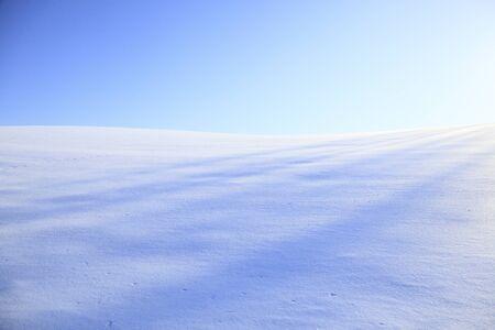Sneeuw veld en een blauwe hemel Stockfoto