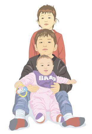 three children: Three children