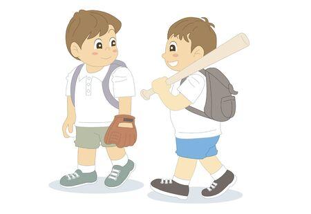 a fellow: Children with a bat and glove