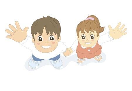 a fellow: Children waving