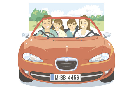 four people: Four people in the family drive