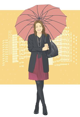rain coat: Women Stock Photo