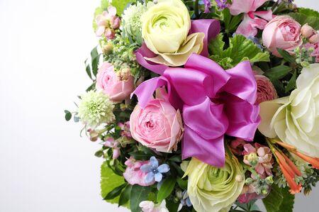 flower arrangements: Flower arrangements and ribbon Stock Photo