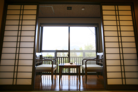 shoji: The back of the chairs and tables of shoji door